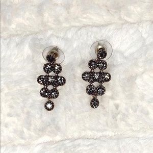 francesca's black druzy dangly earrings